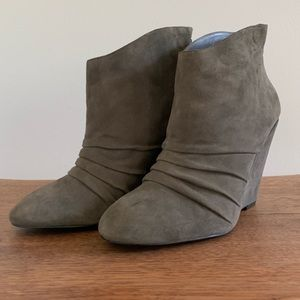 BCBGeneration Wedge Booties, Taupe, Size 8.5